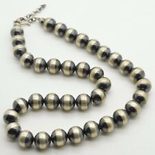 """Sterling Silver Navajo Pearl Necklace Burnished Desert Beads 12mm 24"""" Long"""