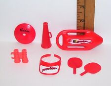 BARBIE & KEN RED SPORTS VISOR WATER BOARD PING PONG ACCESSORY LOT PRE-OWNED