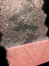 "13"" Wide Pink Floral Stretch Tulle Lace Trim Fabric Eyelash Victorian Style Lace"