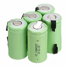 10PCS Ni-Cd Sub C Battery SC 1.2V 2200mAh NiCd Rechargeable Batteries Green