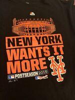 MLB New York Mets 2015 National League Post Season T-Shirt Majestic Mens XL NICE