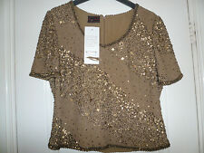 BNWT Frank Usher Hand Made Sequined Old Gold Short Sleeve Top~Size S~ 100% Silk