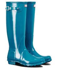 WAREHOUSE SALE New Ladies Gloss Hunter Wellies Wellington Boot Ocean Blue Size 6