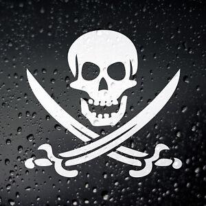Jolly Roger Pirate Car Sticker - Skull Crossbones Campervan JDM Laptop Rat Look