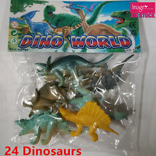 24 Plastic Dinosaur Playset Toy Animal Action Figure Dino T-rex Trice PA085x4