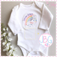 Personalised Rainbow Baby Vest/Bodysuit,Rainbow Cloud Clothes, Baby Shower Gift