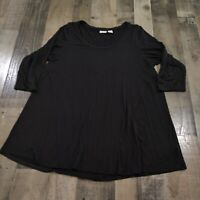 Kenar Plus Womens Size 1X Regular Solid Round Neck 3/4 Sleeves Black Tunic Top