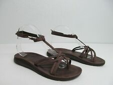 Chaco Brown Leather Thong Strappy Sandals Ankle Strap Size Women's 9