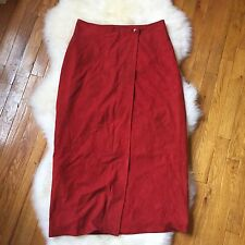 Paul Stuart Red Suede Midi Wrap Skirt Size Large