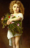 Little Girl with Arms Full of Flowers by William-Adolphe Bouguereau