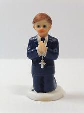 Kommunionfigur Junge 6,5cm Kommunionkind kniend Tortenfigur Anzug blau Kommunion