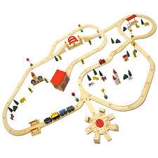 230x130cm Holzeisenbahn über 8m Schienen Holz Set Eisenbahn Holzzug 120 Teile