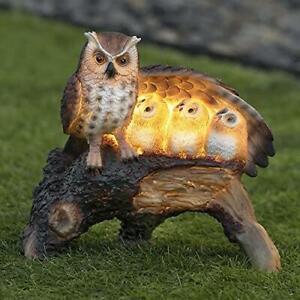 Globrite Solar Family Owl Light Mother Children Wing Log Statue Figurine Ornamen