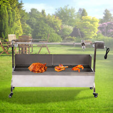 53''Large Stainless Steel BBQ Spit Roaster Rotisserie Cooking Lamb Chicken Grill