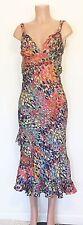 Nanette Lepore Multicolor Summer Ruffle Trim Maxi Dress w/ Exposed Back