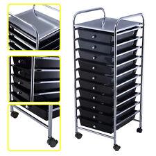 10 Drawer Rolling Storage Cart Scrapbook Paper Office School Organizer Black