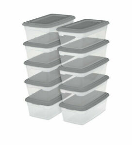 Sterilite 6 Quart Storage Box Clear Gray Lid Shoes Crafts Sewing Clothes Puzzles