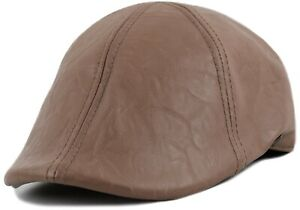 Distressed Faux Leather Men's Newsboy Ivy Cap, Solid Gatsby Duckbill Pub Hat