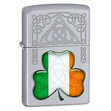 Zippo Irish Flag Shamrock Silver Windproof Lighter
