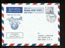 LOT 83495 C23 FIRST FLIGHT COVER TO NEW YORK CZECHOSLOVAKIA : AIR MAIL PLANE
