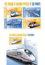 Speed Trains Bridges TGV Züge Locomotives Railways Transport Niger MNH stamp set