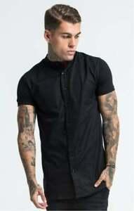 SikSilk Mens Grandad Collar Jersey Sleeve Fitted Shirt - Black XS