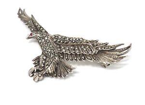 A Fantastic Heavy Vintage Sterling Silver 925 Marcasite Eagle Design Brooch 21g