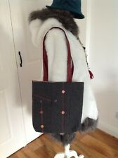 Multi Red and Grey Handmade Tote Bag with Embroidered Detail