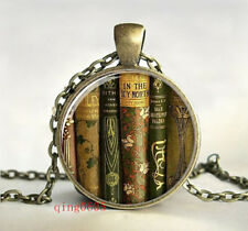 teacher's book gift  Cabochon Tibetan Bronze Glass Chain Pendant Necklace