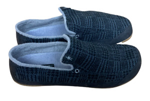 Smartwool 13 Black Grey Plaid 100% Merino Wool Hard Sole Slippers