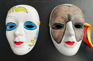 Lot Of 2  Masquerade Face Masks Hand Painted Porcelain Bisque, Wall Art Decor