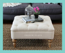 *IN STOCK NOW!* NEW French Provincial oak ottoman footstool tufted beige linen