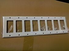NEW 8-Gang Decorator Painted WHITE Steel Wall Plate Decora Industrial Switch