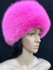 Arctic Fox Fur Full Round Hat Saga Furs Regular Size Full Fox Pink Hat