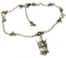 Silver Owl Charm Ankle Bracelet Dragonfly Chain Anklet Foot Jewellery Gypsy Boho
