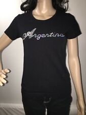 Argentina T-Shirt Black With Sequin Accent Cute Summer Top Sexy Latin Style