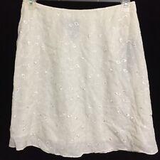 Lauren Ralph Lauren Size 12P Ivory Silk Lace Skirt