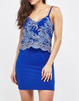 RRP £37 EX QUIZ Stunning Blue Ladies Floral-Embroidered Mesh Bodycon Dress 8-16