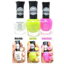 3 Kleancolor Nail Polish Matte Color White Lime Hot Pink Opaque Lacquer 3SET25
