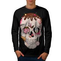 Wellcoda Junk Food Skeleton Mens Long Sleeve T-shirt, Festival Graphic Design