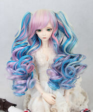 1/3 BJD Doll Wig DZ DOD LUTS Lolita 2 Ponytail Hair Long Wavy Curly Blue Pink