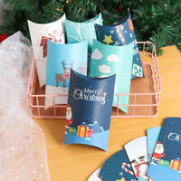 5/10pc Christmas Pillow Shape Box Paper Candy Boxes Kraft Gift Bag Present Pouch