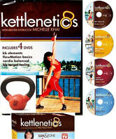 KETTLE Bell KIT: K-BELL 4LB WEIGHT + 4 Kettlenetics WORKOUTS +FREE FITNESS Bonus