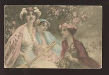 MUSIC 1908 PPC WOMEN + LUTE + PIPE...USA to AUSTRIA