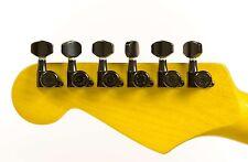 Genuine Hipshot 6 inline non-staggered enclosed Black Grip-Lock locking tuners