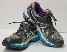 ASICS GEL NIMBUS 14 Womens Running Shoe sz 6.5 Gray White Purple Blue  T291N