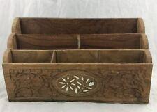 Vtg Hand Carved Wooden Letter Mail Holder Desk Organizer Archana Handicrafts ...