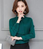 Korean Elegant Women Stand Collar Blouse Long Sleeve Shirt Chiffon OL Career Top