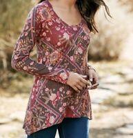 Size 3X Soft Surroundings Floral Boho Tunic Top Shirt Blouse Women's Plus NWT