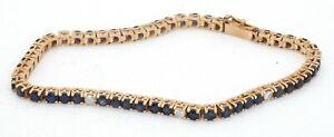 Vintage 14K gold beautiful 4.48CTW diamond & Blue sapphire line bracelet